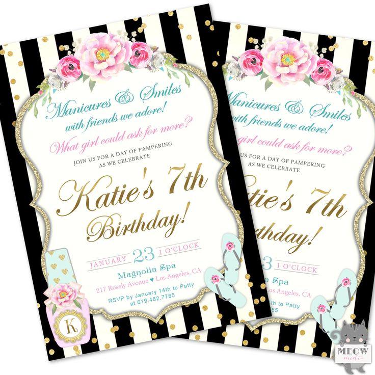 Spa Party Invitation, Spa Birthday Party Invite, Manicure party, Girl's Spa Party, Spa Birthday Party Printable Invitations, Manicure invite by MeowMedia on Etsy https://www.etsy.com/listing/559093534/spa-party-invitation-spa-birthday-party