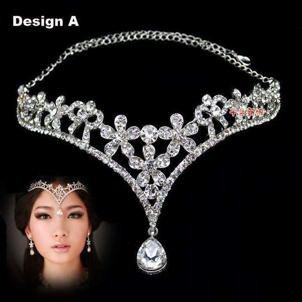 Wish | Zircon Diamond Tiara Crown Forehead Hairwear-to-Necklace for Bride Quinceanera Crowns Pageant Hair Jewelry 5 Designs WIGO0009