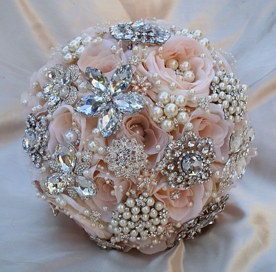 PINK BROOCH BOUQUET Deposit for this Bridal by Elegantweddingdecor, $175.00