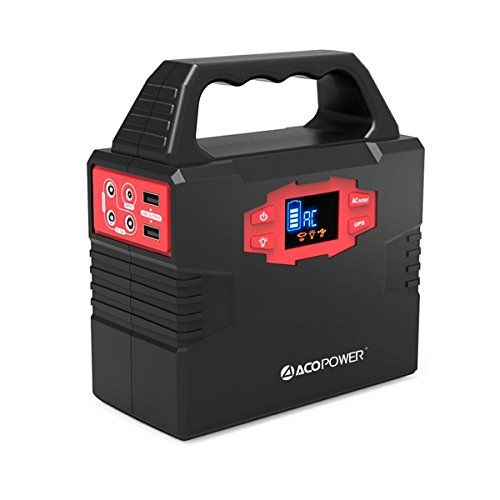 ACOPOWER 150Wh Portable Solar Generator Power Supply Energy Storage Lithium ion Battery Charged by Solar/AC Outlet/Cars with Dual AC Outlet, 3 DC Ports, 2 USB Ports. For product info go to:  https://www.caraccessoriesonlinemarket.com/acopower-150wh-portable-solar-generator-power-supply-energy-storage-lithium-ion-battery-charged-by-solar-ac-outlet-cars-with-dual-ac-outlet-3-dc-ports-2-usb-ports/