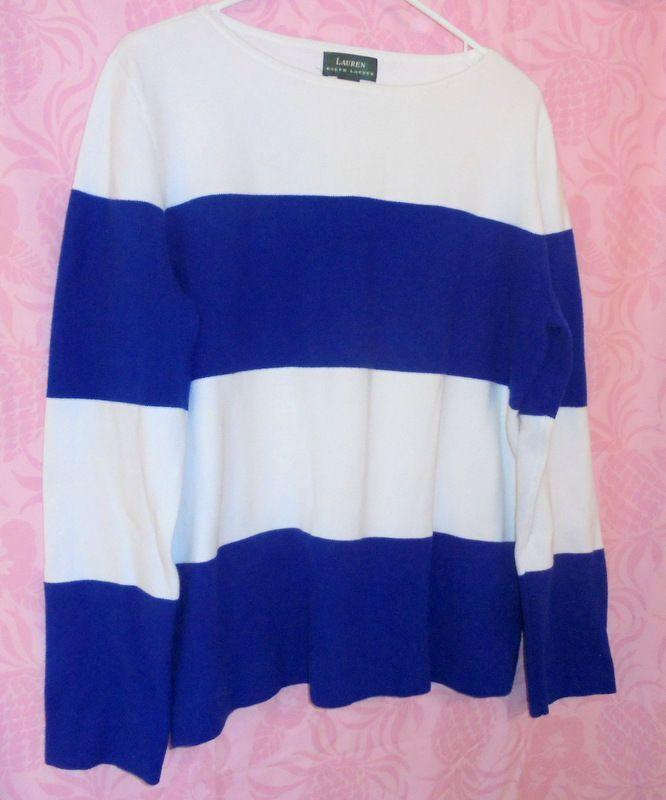 RALPH LAUREN Long Sleeve Sweater Size:Large Pullover Blue White Stripe  #RALPHLAUREN #PullOverSweater #Casualdress