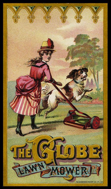 Antique lawn mower advertisement postcard, 19th C. | 1800s