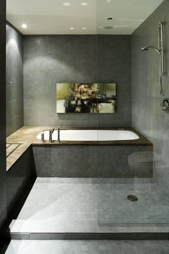 Bath w/ open shower and large scale marble tile. Description from pinterest.com. I searched for this on bing.com/images