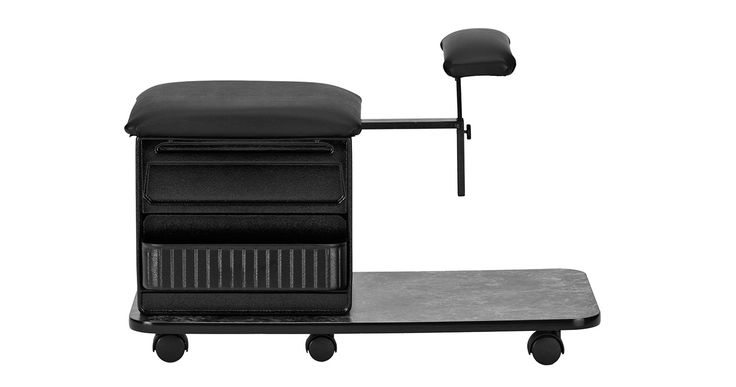 "The Pedicure Pal 505 is a comfortable mobile pedicure station. The sturdy pedicure storage stool is rated for 200LBS and features a 3"" cushion and for the technician and an adjustable footrest for clients. The 16""W x 31""D rolling pedicure station rolls on six twin wheel casters and has an adjustable client footrest adjusts horizontally 7"" and 18""-21"" vertically. Available in four laminate choices. Pedicure Station, Pedicure Chair, Pedicure  Stool,"