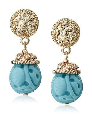60% OFF Kenneth Jay Lane Carved Faux Turquoise Drop Earrings