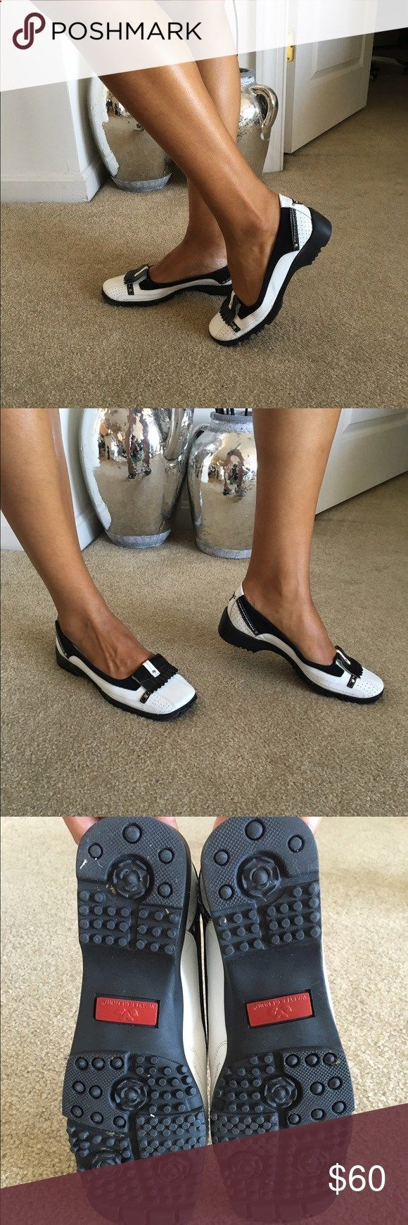Lady Golf Shoes womens golf shoe Black and White Womens Golf shoes. Great grass traction, worn on turf 18 holes only Linea Stretch Shoes Athletic Shoes