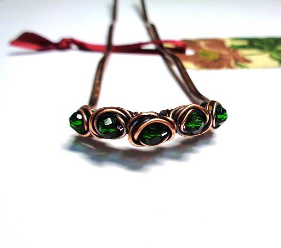 Copper Hair Fork  Metal Hair Pin  Mid Green Beads  Hair Bun