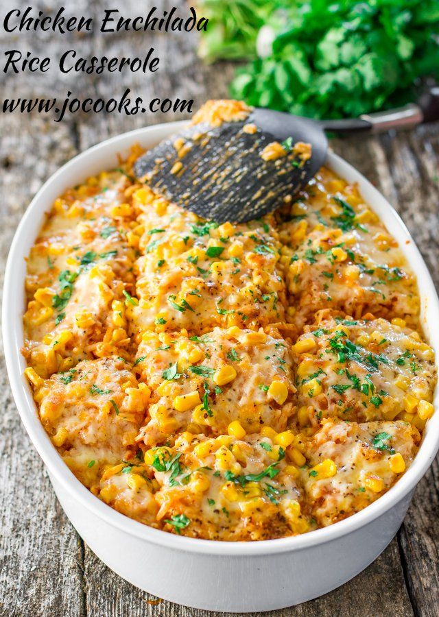 Chicken Enchilada Rice Casserole - all the makings of a chicken enchilada but with rice and as a casserole. It's simply delicious!
