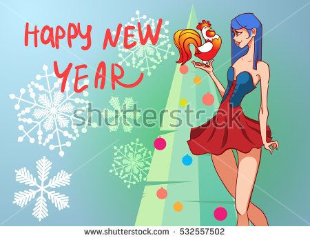Christmas card with a beautiful girl with a Christmas tree in the background. The symbol of the new year rooster. festive vector cartoon background