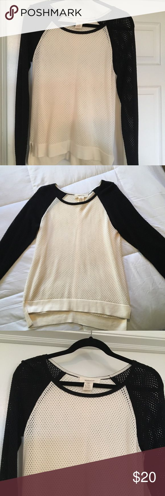 """Andrea Jovine """"workshop"""" waffled top Worn once adorable long sleeve top.. cream colored with black sleeves!! A little longer in the back.. definitely fitted!! Andrea Jovine Tops"""