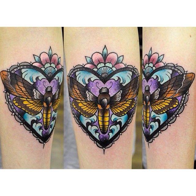 .@darylwatsontattoo   amazing moth tattoo
