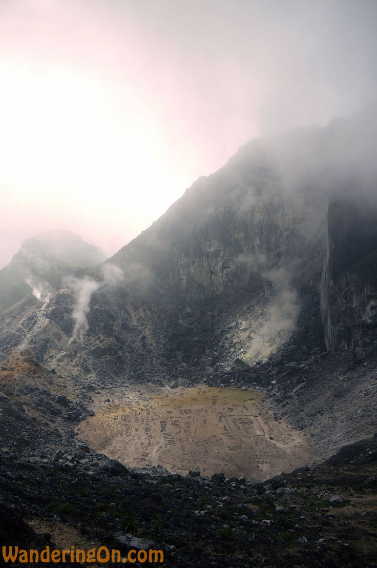 Hiking To The Crater Of Gunung Sibayak Volcano, Berastagi, Sumatra. Looking back down on the dormant crater of Gunung Sibayak, Indonesia from our lunch spot #travel, #blog, #indonesia
