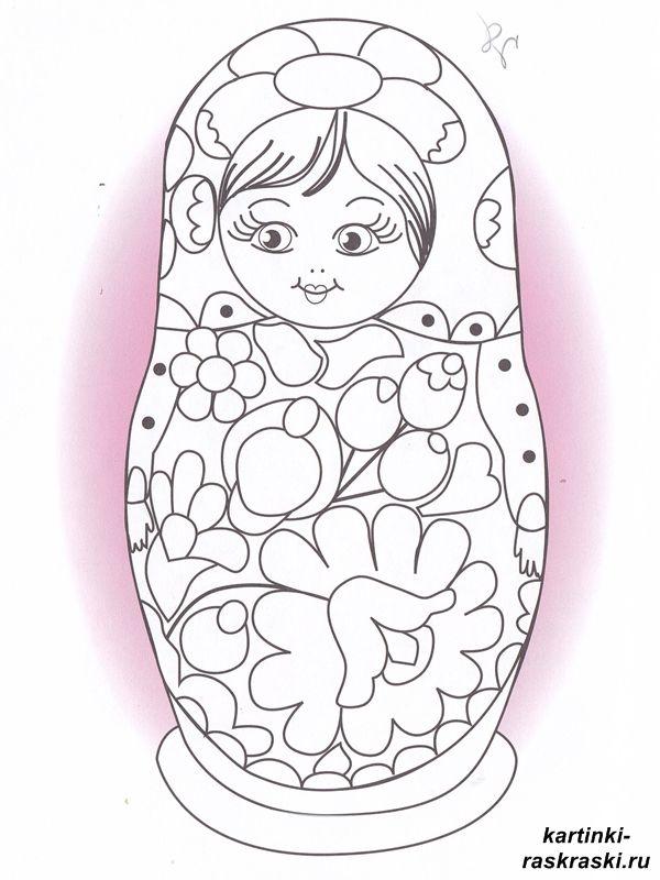 матрешка раскраска для малышей | Матрёшки | Матрешка и ...