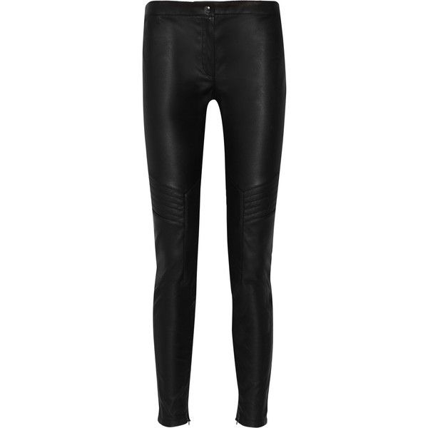 Belstaff Helene leather leggings (12.808.360 VND) ❤ liked on Polyvore featuring pants, leggings, black, real leather leggings, black stretch pants, black stretchy pants, black legging pants and quilted leather leggings