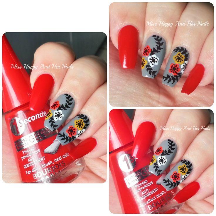 Fancy flowers nail art + tutorial