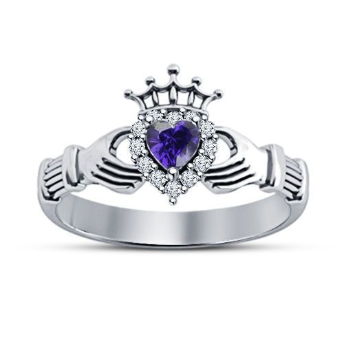 Diamond & Amethyst 925 Silver Claddagh Crown Heart Shape Engagement Ring 5 6 7 #Bacio2jewel #CladdaghRing #WeddinganniversaryGift