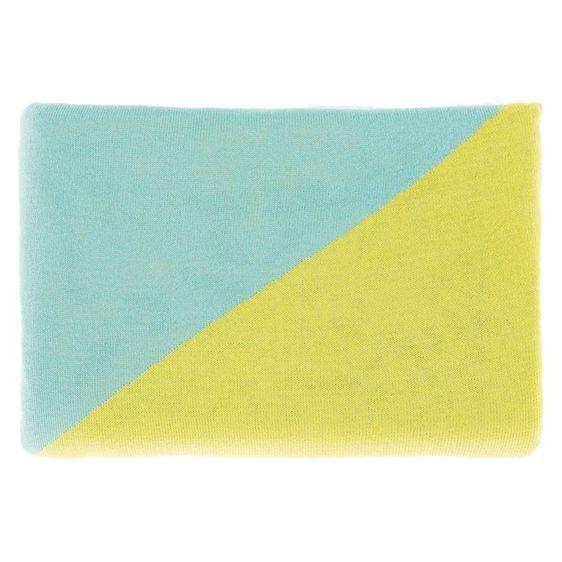 NEW Linen House Kit Throw, Aqua/Buttercup