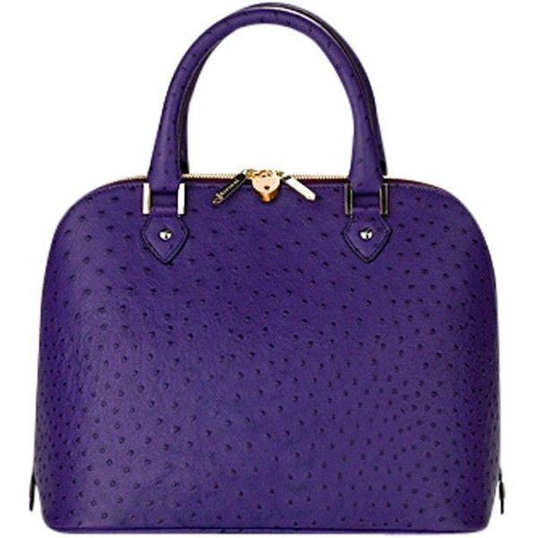 ... Hepburn Grab Handbag, Purple Ostrich (800) liked on Polyvore