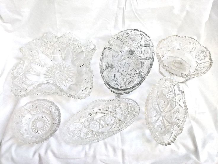 VINTAGE Pressed Glass Serving Dishes Condiment Bowl LOT OF 6 DEPRESSION ERA 1940