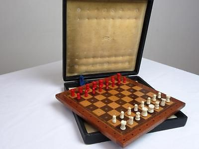 ANTIQUE - VINTAGE JAQUES  TRAVEL PEGGED  CHESS SET  WOOD BOX- BOARD