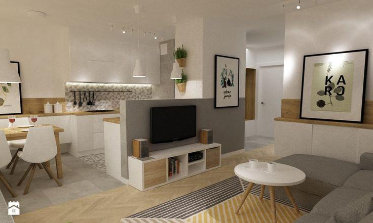 kabaty metamorfoza 60m2 - Średnia otwarta kuchnia w kształcie litery u w aneksie, styl skandynawski - zdjęcie od Grafika i Projekt architektura wnętrz