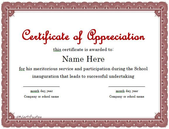 Free Printable Employee Recognition Certificates Certificate Of  Appreciation 01  Certificate Of Recognition Samples