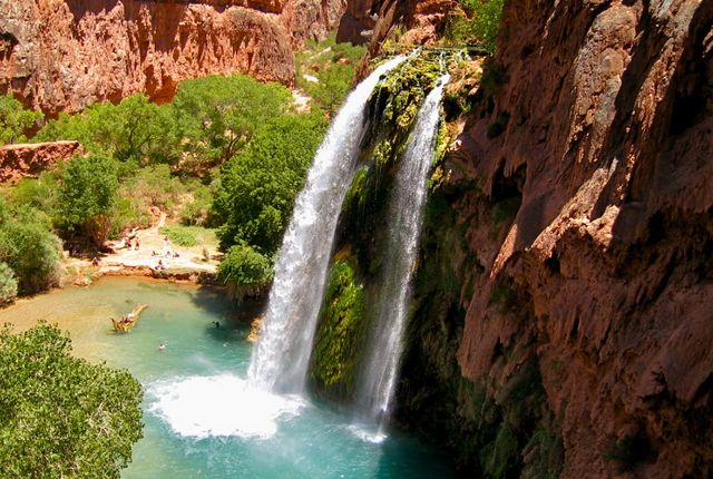 Struggle all morning and afternoon through the canyons leading to the Havasu…