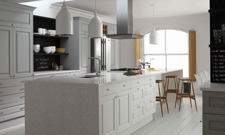 Sculptured Kitchen in Gullwing and Super White image 1