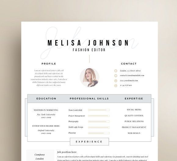 Resume Templates U0026 Design : Resume Template 1 Page CreativeWork247 Fonts  Graphics Photoshop Templates