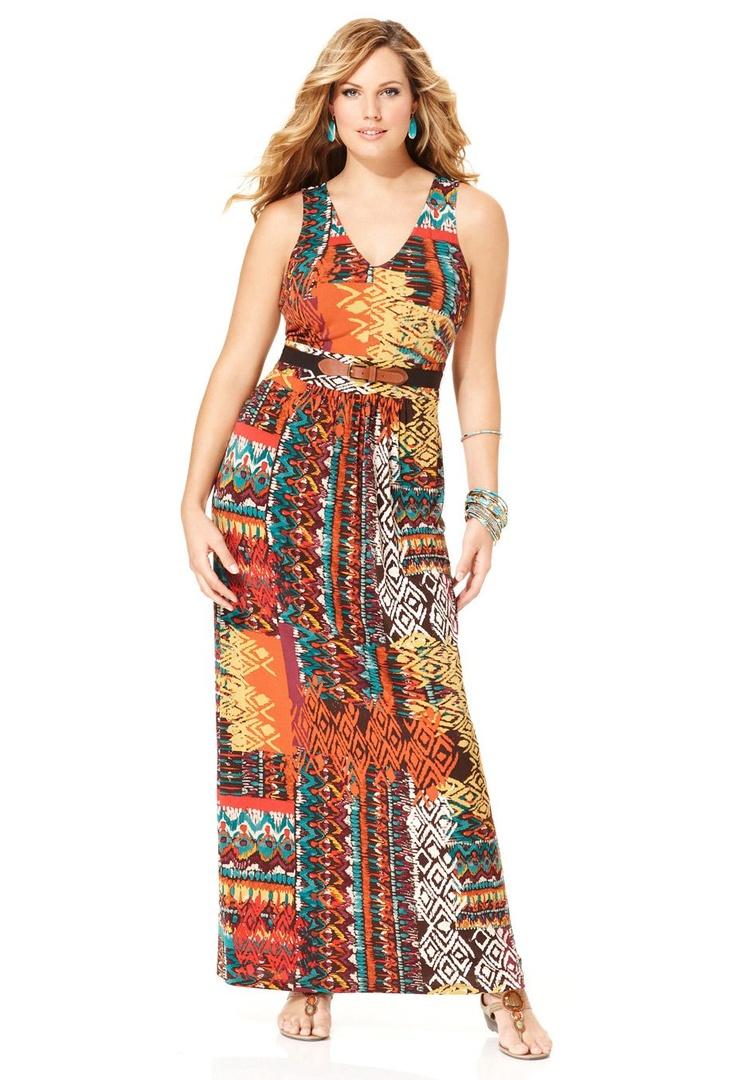 Belted Mix Print Maxi Dress