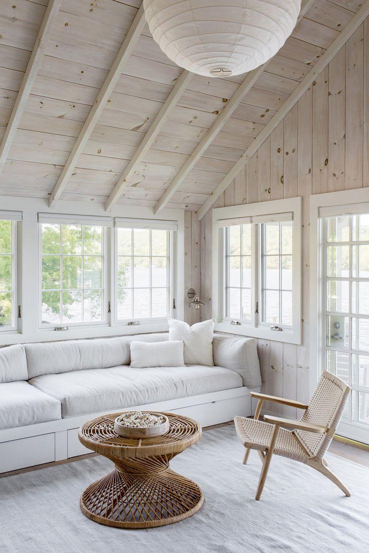 Crisp White Wooden Sunroom Modern Lake House Beach House Interior Interior