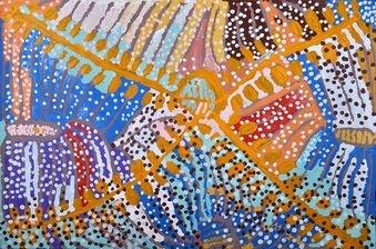 """Yala (Bush Potato)"" 120 x 180cm by Lorna Fencer Naparrula @ Muk Muk Fine Art"