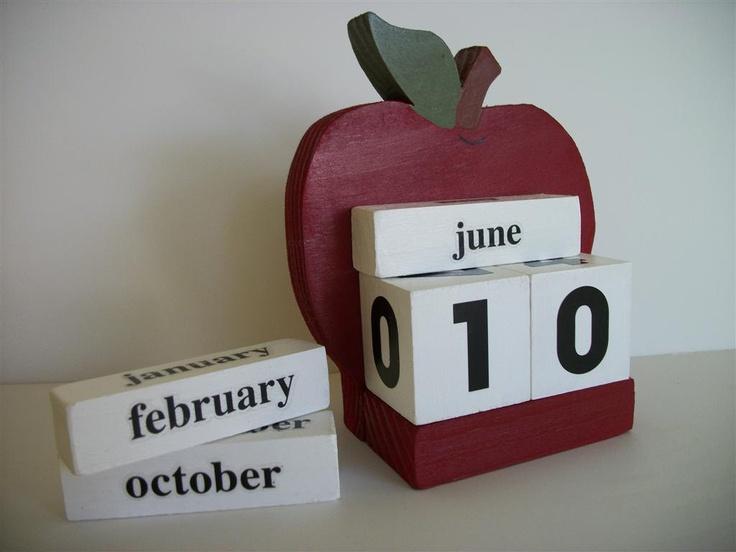 Apple Calendar Perpetual Wood Block Red Apple Decor Teacher Gift. $9.50, via Etsy.