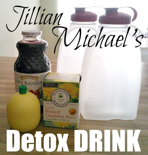 Jillian Michaels Detox Drink. Lose 5 pounds in 7 days? Ingredients: 64oz purified water, 1 bag Dandelion Root Tea, 1 tablespoon pure Cranberry Juice, 2 tablespoons Lemon Juice and I want to start following her blog.