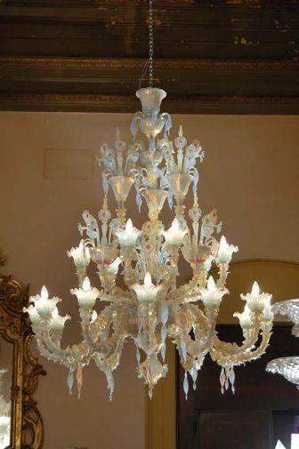 Antico lampadario Murano-Rezzonico opalino policromo