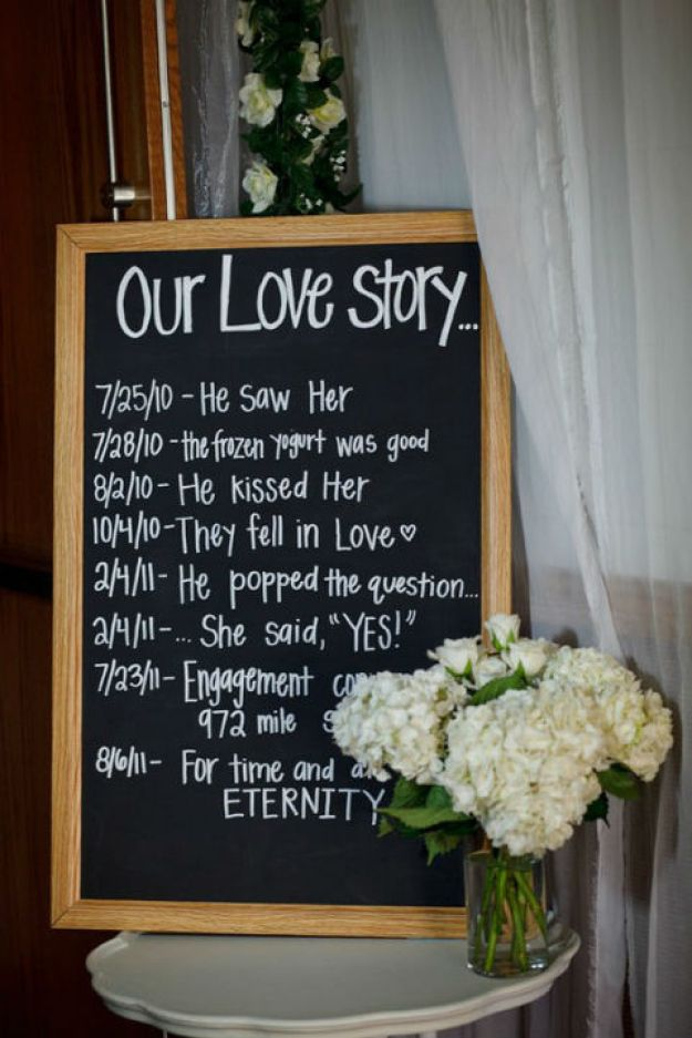 To give your guests something sweet to read, display a relationship timeline chalkboard.
