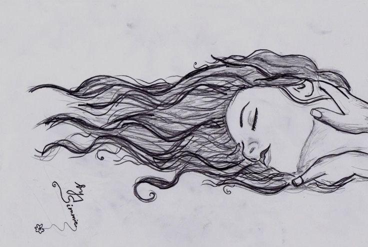 woman, drawing, pencil drawing