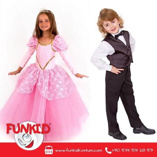 Funkid Ailesi'nin küçük hanımefendileri ve beyefendileri şıklığına çok önem verir. Prenses modeli, kabarık, pespembe elbisemiz ve ceketi, pantolonu, gömleği ile takımımız çocuğunuza çok yakışacak! #kostum #costume #kids #çocuk #funkidkostüm #prenses #princess #pembe #pinkdress