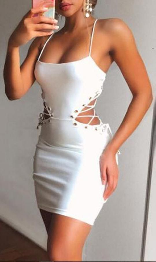 bb6955fe06eff Cute Outfit Ideas for Summer Party Clubbing Going Out White Mini Cut Out  Lace Up Tight Fitted Short Dress for Teens - www.GlamantiBeauty.com #dresses