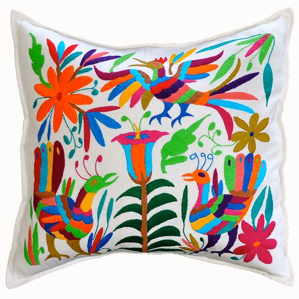 Otomi hand embroidered pillow