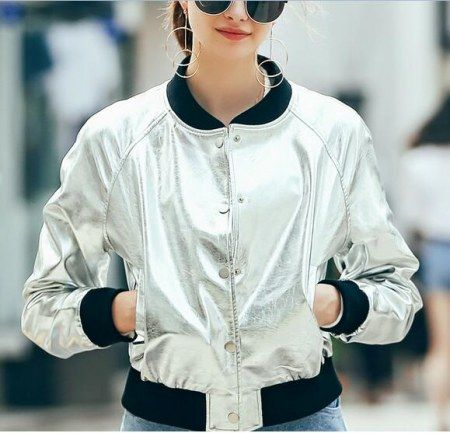 Shiny silver bomber jacket short style for women zip up pu jackets