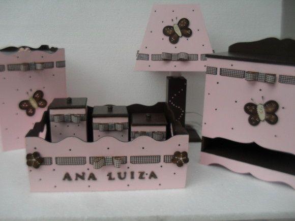 kits de higiene forrados com tecido rosa, marrom e branco - Pesquisa Google