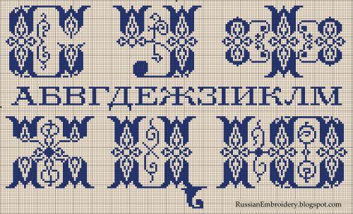 """Старинные схемы для вышивания: К. Кремер: """"Женские рукоделия: Азбука для метки белья"""", альбом №16"""