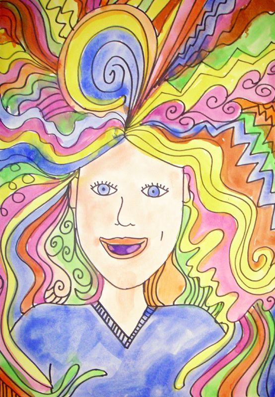 """Crazy Hair Day. As a fun project we created self portraits using crazy lines and colors to give ourselves a """"Crazy Hair Day"""". The goal was to fill up the entire paper with hair!"""
