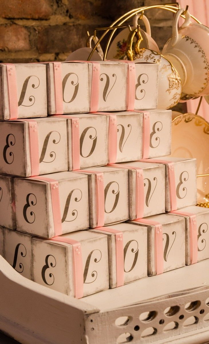 "Charming ""LOVE"" Cube Favor Boxes"