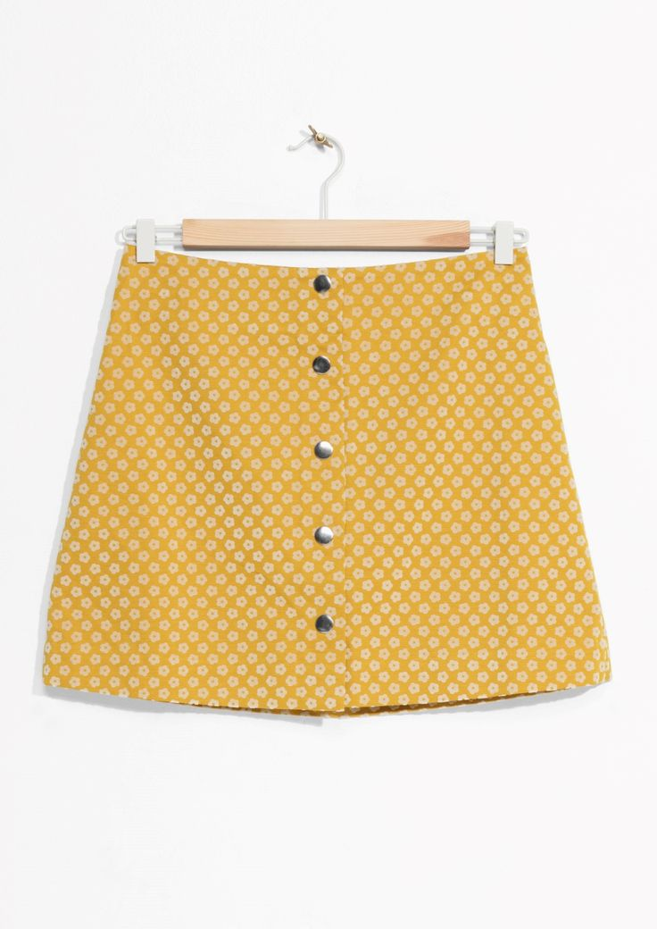 & Other Stories image 1 of Button-Down Mini Skirt in Mustard