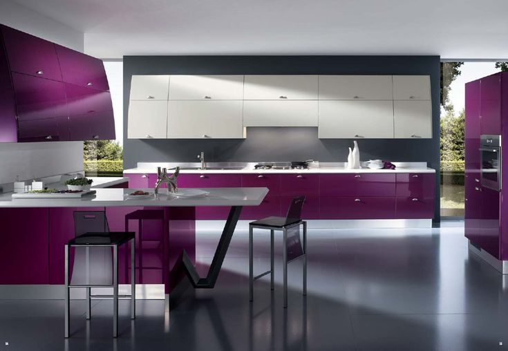 Modern purple, white, and gray kitchen design. Awesome, I would love to have a purple kitchen like this.