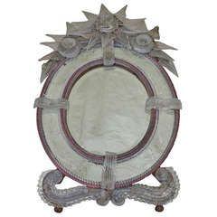 Oval And Bicolor Murano Mirror