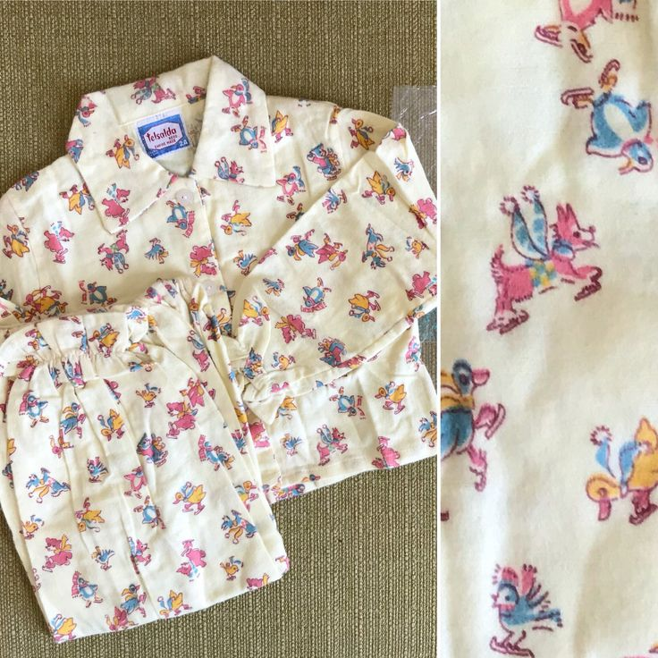Childrens pyjamas / winter baby pyjamas. New vintage. Yellow cotton w animals. Approx 12 months / Age 1 year. Baby gift / Christmas gift by YoungTeamVintage on Etsy