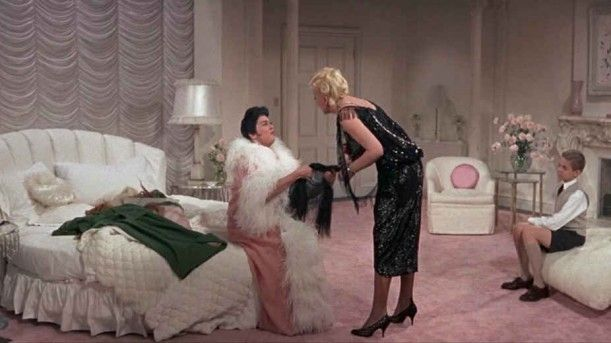 Auntie Mame and Vera in her white and pink bedroom